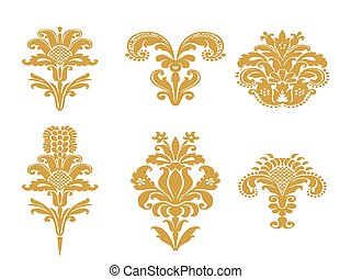 Vector abstract gold set flowers