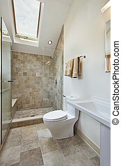 Loft bathroom with skylight - Loft bathroom with stone...