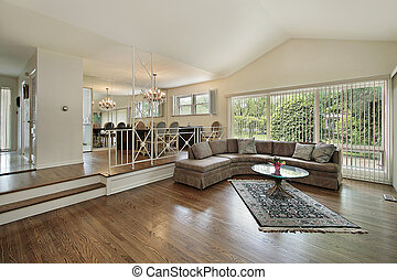 Living and dining room in split level home - Living and...