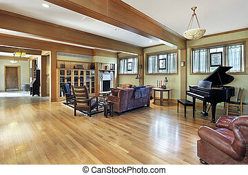 Living room with ceiling beams - Living room in luxury home...