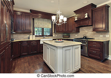 Kitchen with white and granite island - Kitchen in luxury...