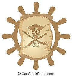 Ship helm and parchment-1
