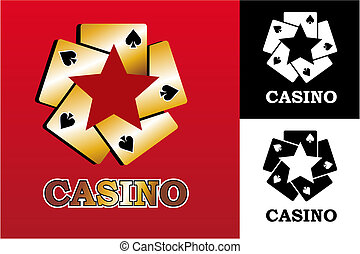 Casino logo - Four aces Casino Poker Cards on black...