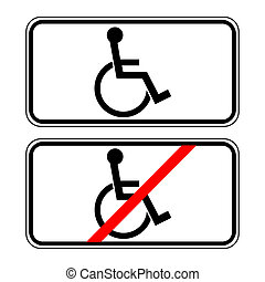 for the disabled - Disabled sign in the white rectangle...