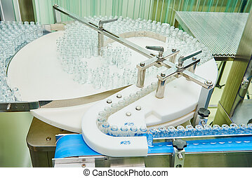 machine conveyor with glass bottles ampoules -...