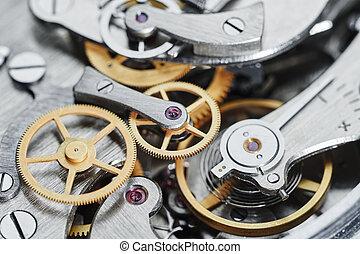 gear clock mechanism - Time concept clock mechanism close-up...