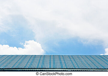 Blue tile roof on the sky.