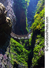 Longshuixia Fissure Gorge is natural place in Wulong county,...