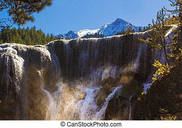 Pearl Shoal Waterfall jiuzhaigou scenic in Sichuan, China