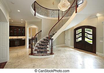 vestíbulo, curvo, escalera