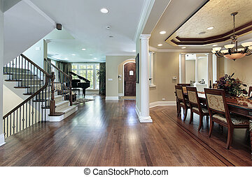 Foyer with dining room view - Foyer in luxury home with...