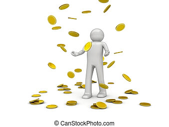 Golden rain - 3d isolated characters on white background,...