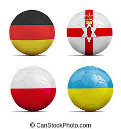 Soccer balls with group C team flags, Football Euro 2016 -...
