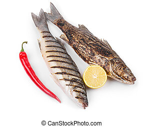 Grilled seabass on plate Isolated on a white background