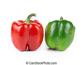 Sweet red and green pepper. Isolated on a white background.