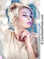 Sensual blond woman with glimmering sequins - Sensual blond...