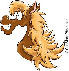 hazel cartoon horse, vector, isolated on white