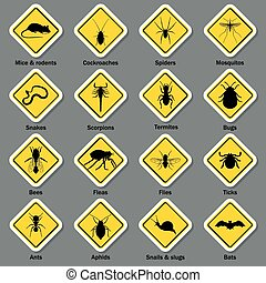 Pest and insect control icons set. Vector EPS10...