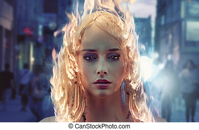 Young woman with burning hair - Young woman with burning...