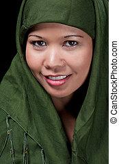 Asiatique, islamique, femme, Sourire