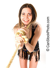 domestic violence. horror bizarre young woman with noose of rope. deadly love