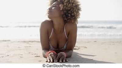 Woman In Swim Suit Relaxing On Tropical Beach - Portrait of...