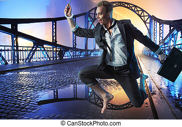 Successful businessman jumping on the bridge - Successful...
