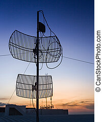 ocaso, antena, silueta