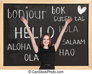 Hello in different languages - Woman near words hello in...