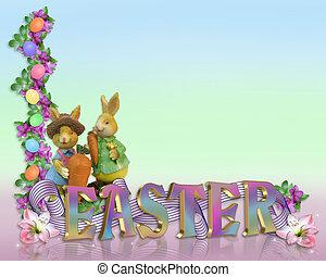 Easter Border eggs bunnies
