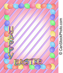 Easter Border eggs 3D text