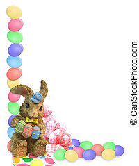 Easter Border eggs bunnies - illustrated Easter eggs border...