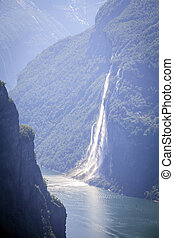 Seven Sisters waterfall in Norway - Color view of the Seven...