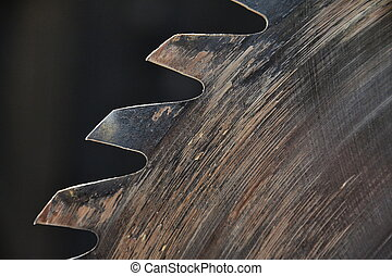 Switched off old rusty sharp circular saw blades closeup
