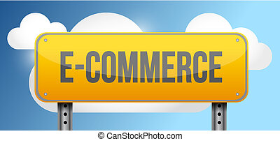 ecommerce yellow street road sign