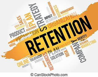 Word Cloud with Retention related tags, business concept