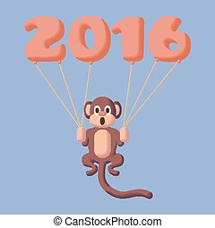 Monkey dotted symbol of 2016 with balloons Rose Quartz and...