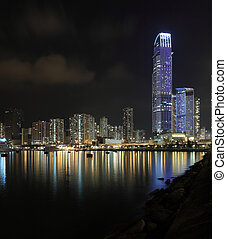 Business Towers and Residential Apartment Buildings in Hong...