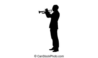 Silhouette Man standing and trumpet melody.. Professional...