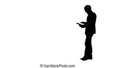 Silhouette Happy Young Man Using Digital Tablet Professional...