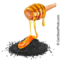 black cumin and honey - black cumin with honey isolated on a...