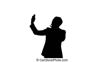 Silhouette Businessman taking a selfie Professional shot on...