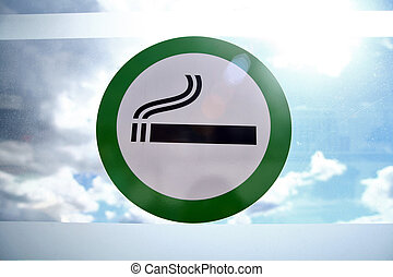 Smoking area - Picture of a sign marking the designated...