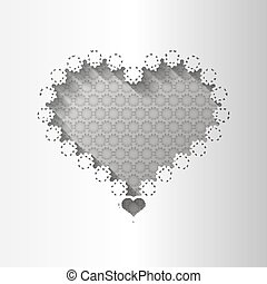 Paper lace greeting card, black white pattern, for lovers, template congratulation, 3D, vector eps10