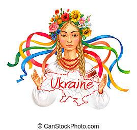 Welcome to Ukraine. Ukrainian girl wreath and traditional...