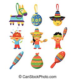 Colourful Indian Set Childish Vector Illustration -...