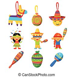 Colourful Indian Set Childish Vector Illustration Collection...
