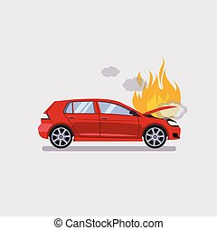 The broken hood of the red car is covered with fire and...