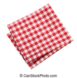 Table cloth kitchen red color isolated. - Table cloth...