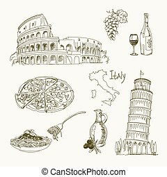 Freehand drawing Italy items on a sheet of exercise book....